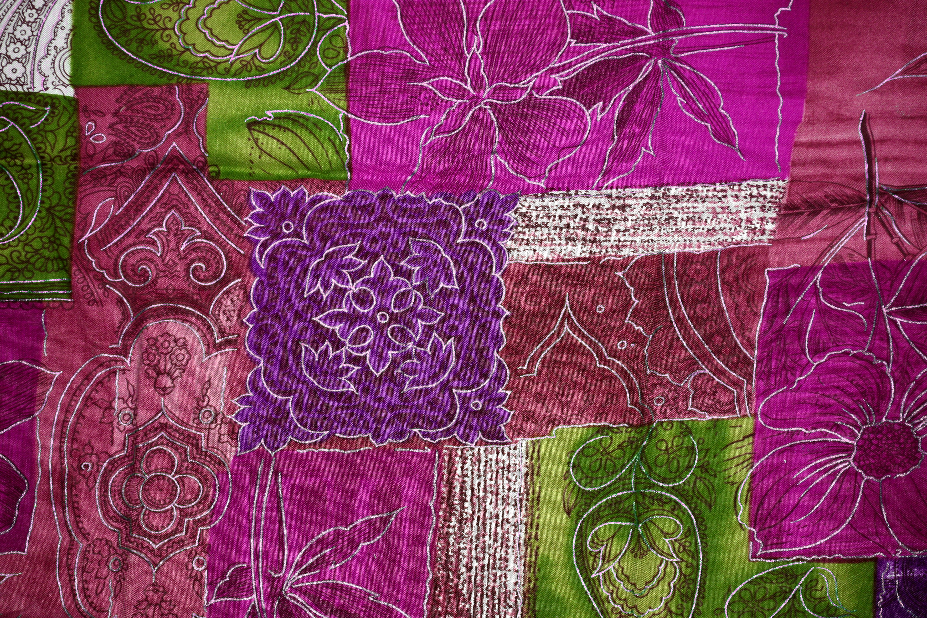 Magenta Green And Purple Patchwork Fabric Texture Picture