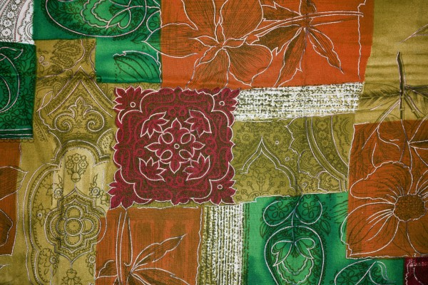 Orange, Green and Gold Patchwork Fabric Texture - Free High Resolution Photo