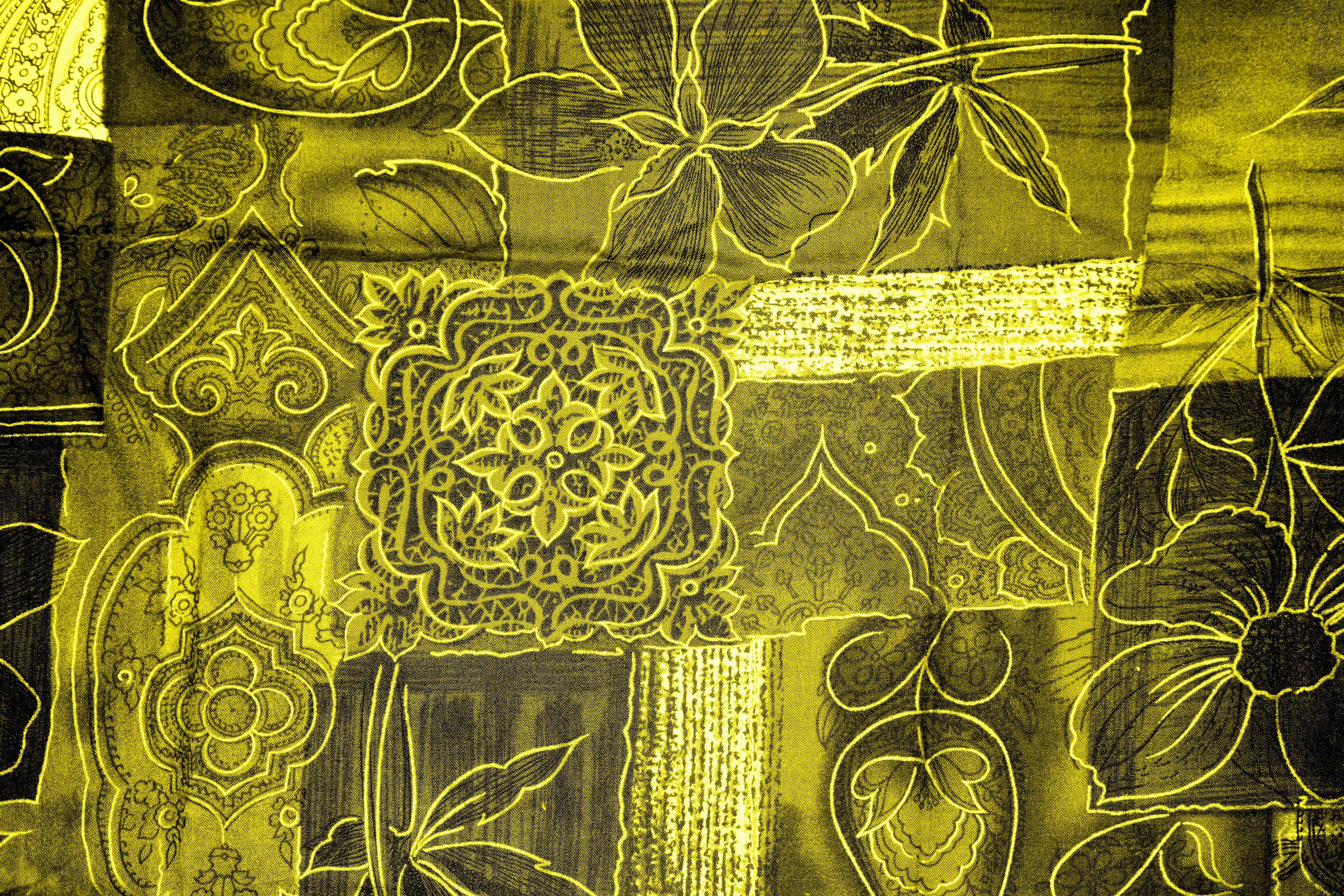 Yellow Patchwork Fabric Texture Picture Free Photograph