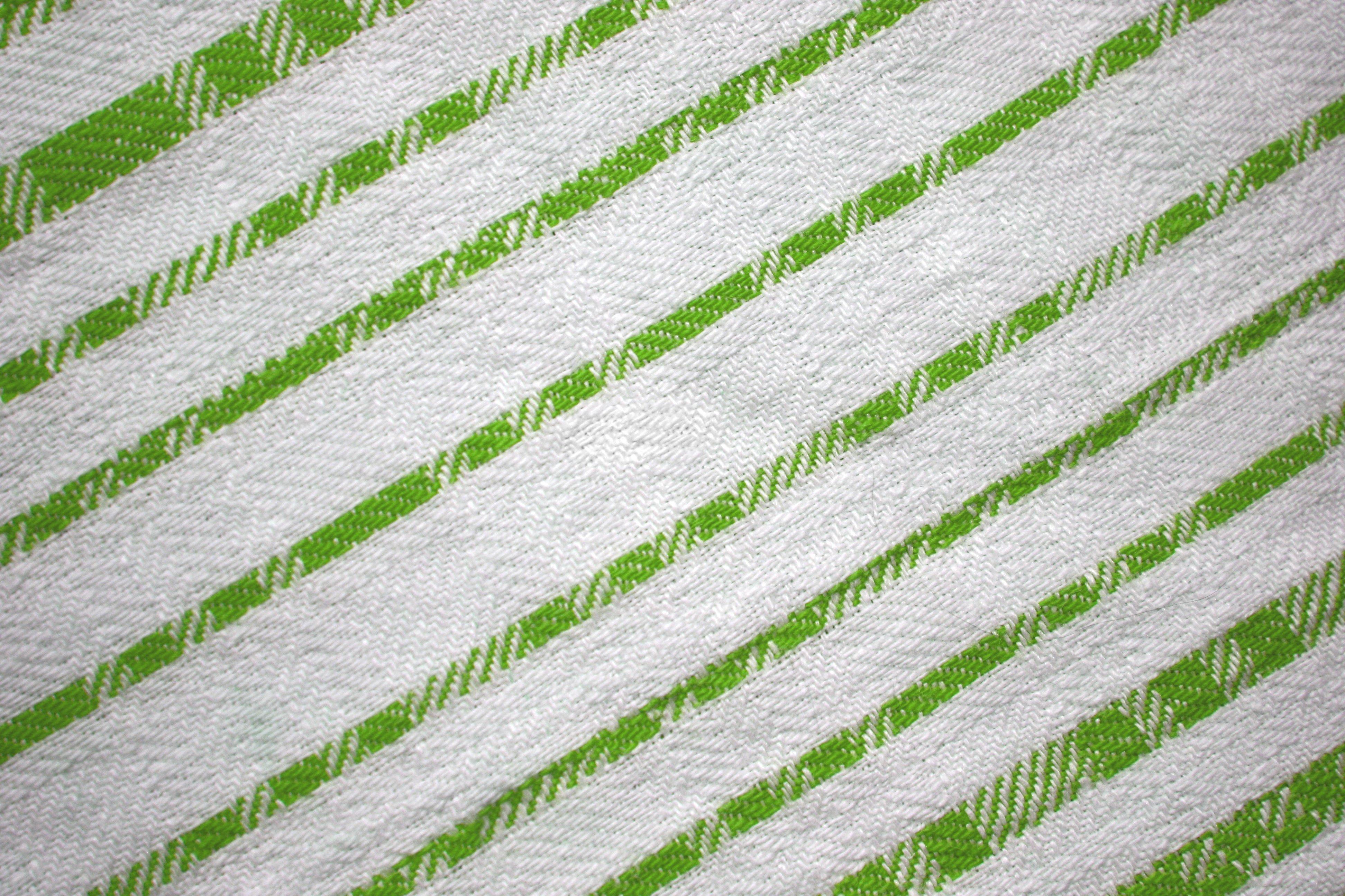 Lime Green On White Diagonal Stripes Fabric Texture