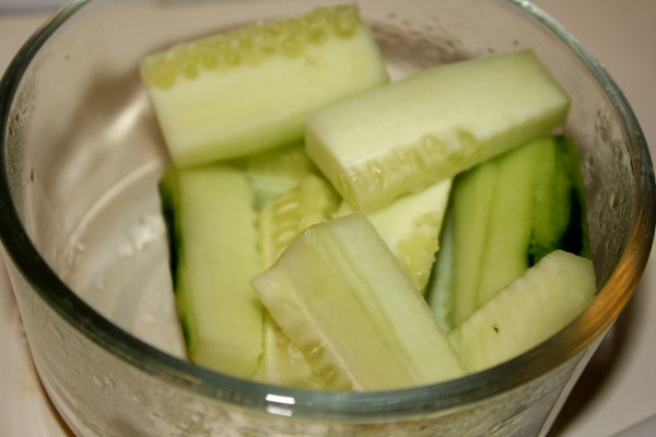 Cut Cucumber Pieces in Glass Bowl - Free High Resolution Photo