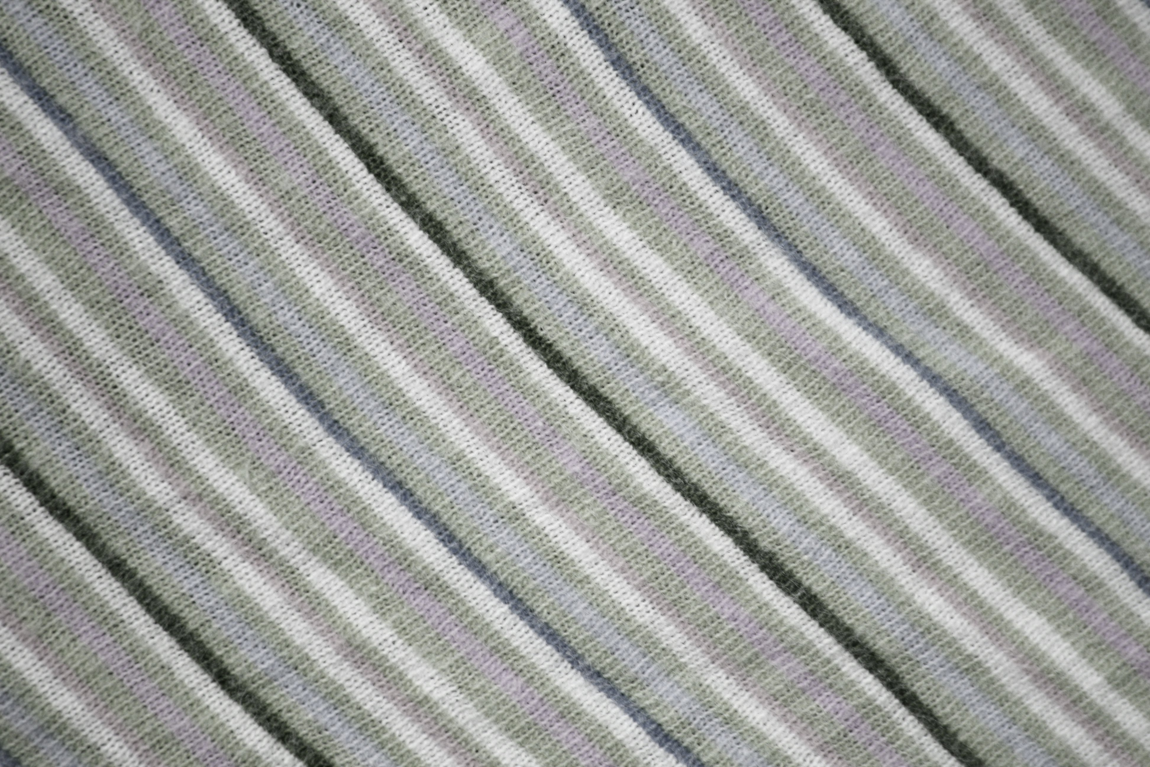 Diagonally Striped Knit Fabric Texture Sage Green And
