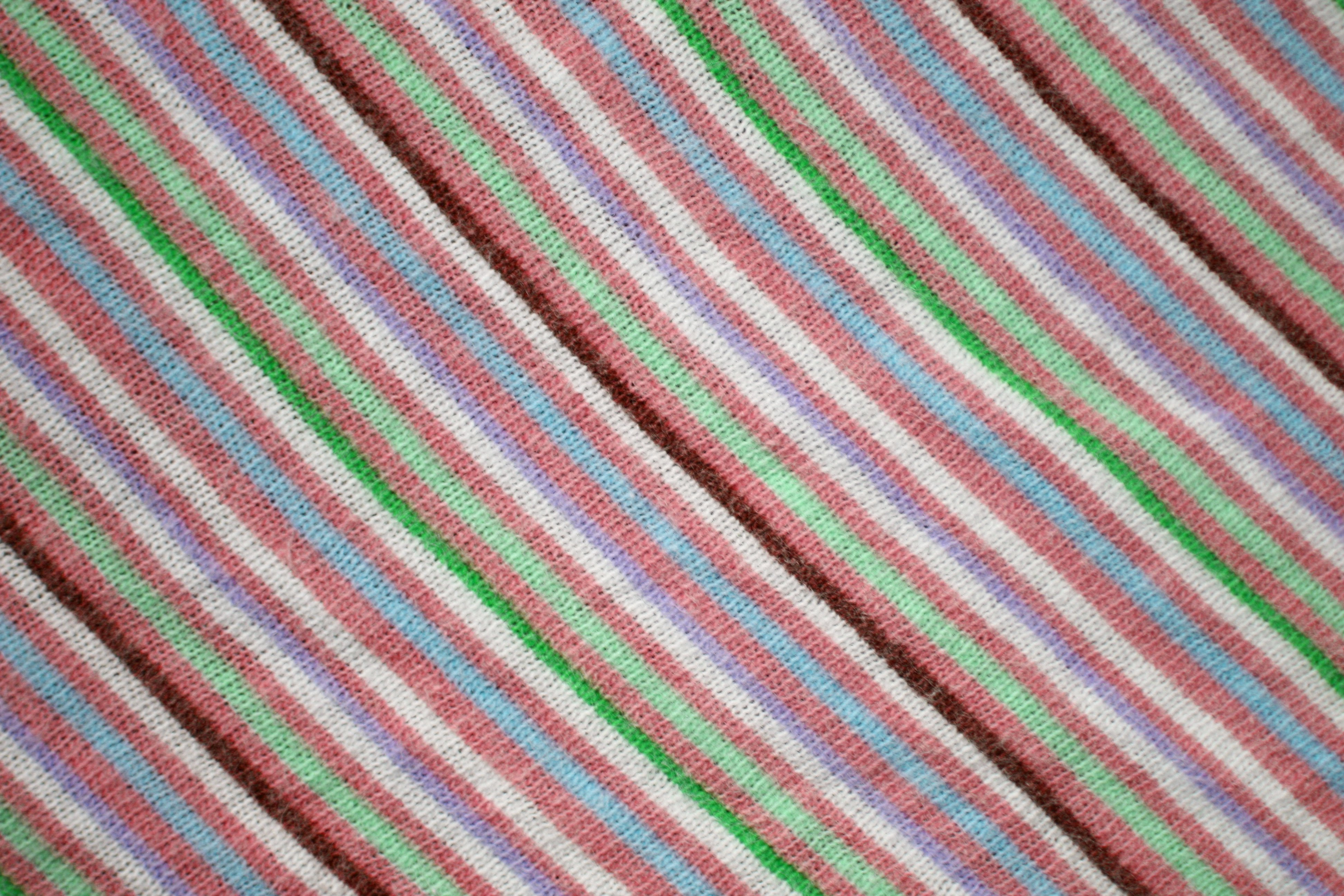 Diagonally Striped Knit Fabric Texture Salmon Blue And