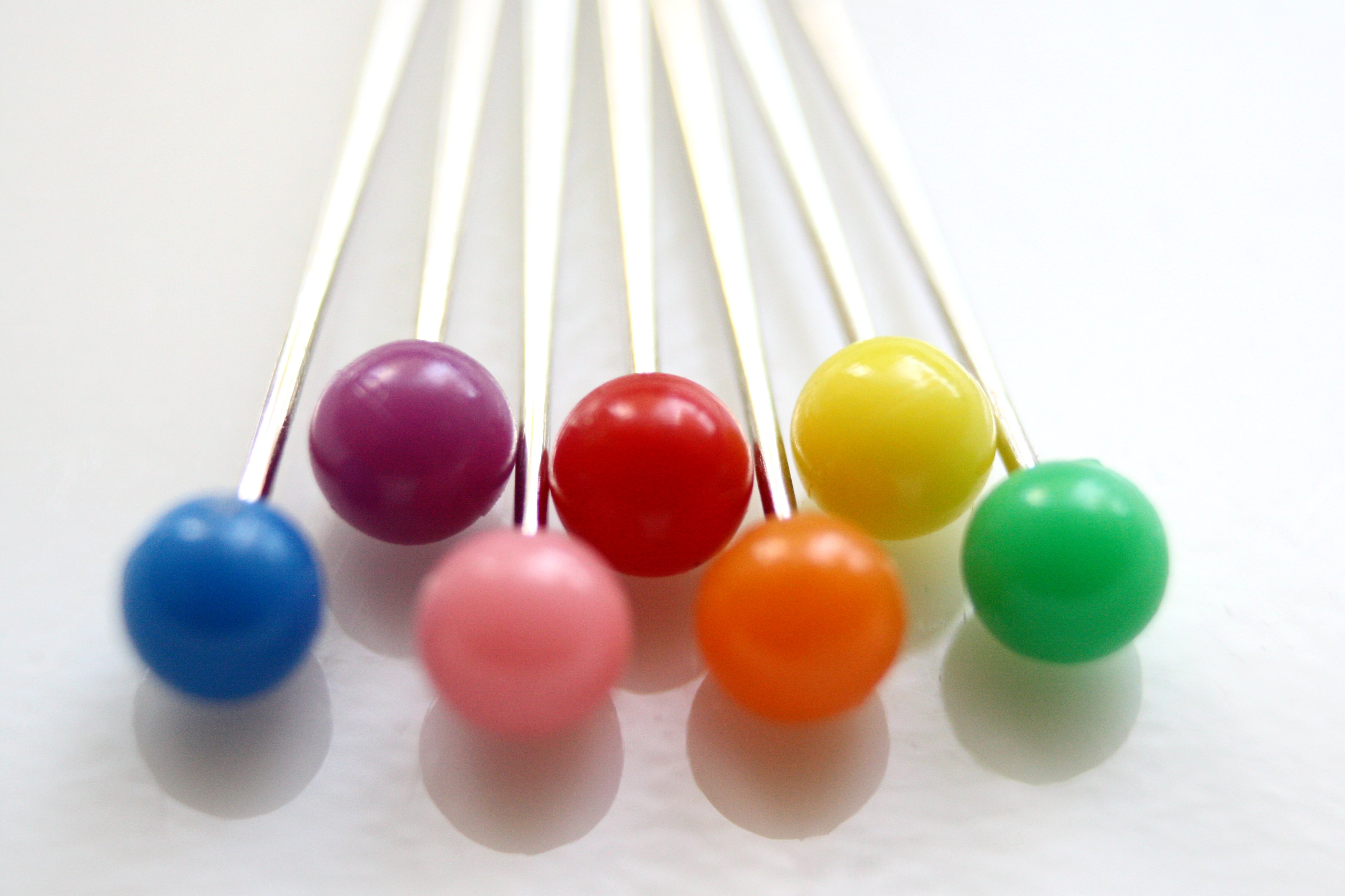 Rainbow Colored Sewing Straight Pins Macro Picture