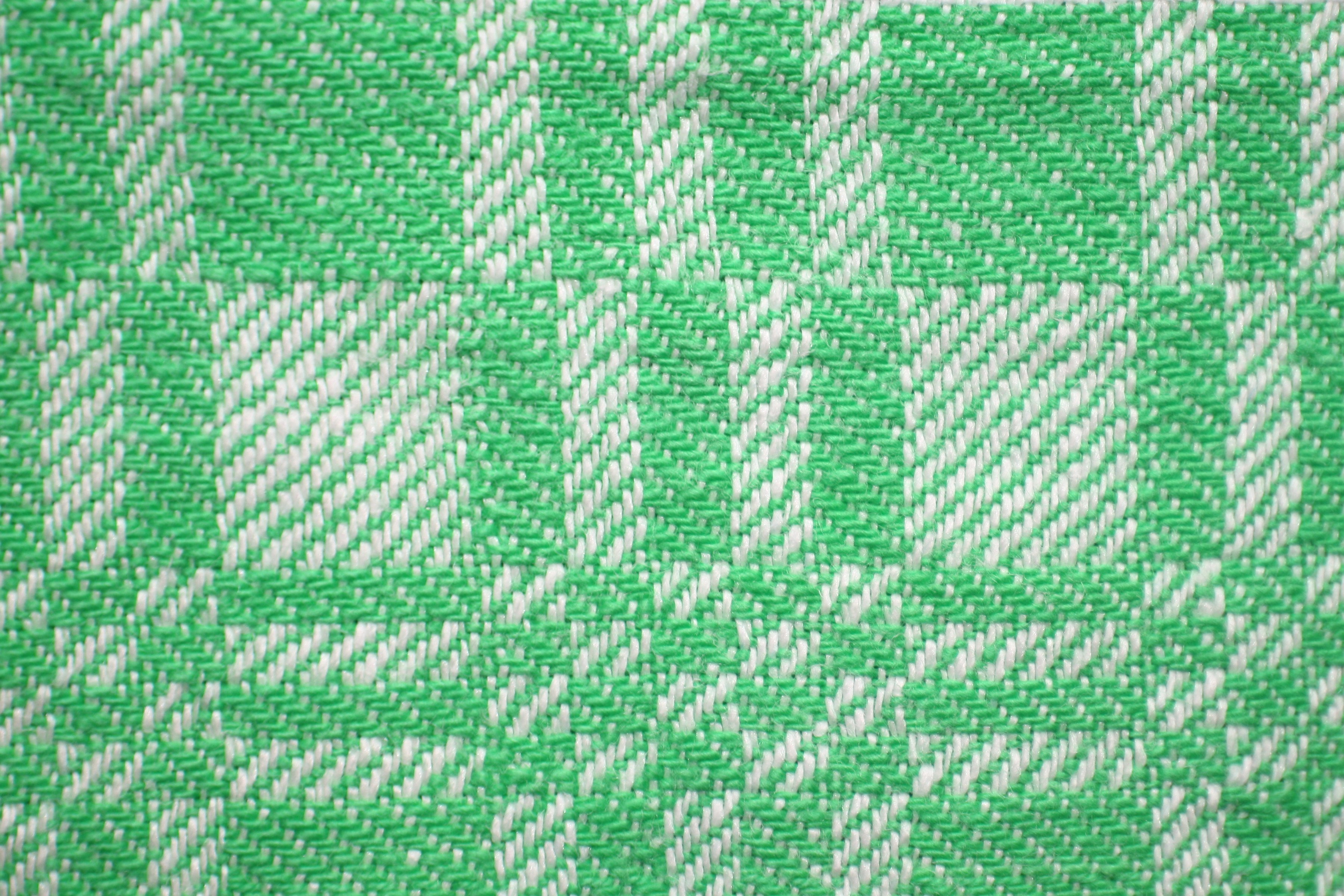 Green And White Woven Fabric Texture With Squares Pattern