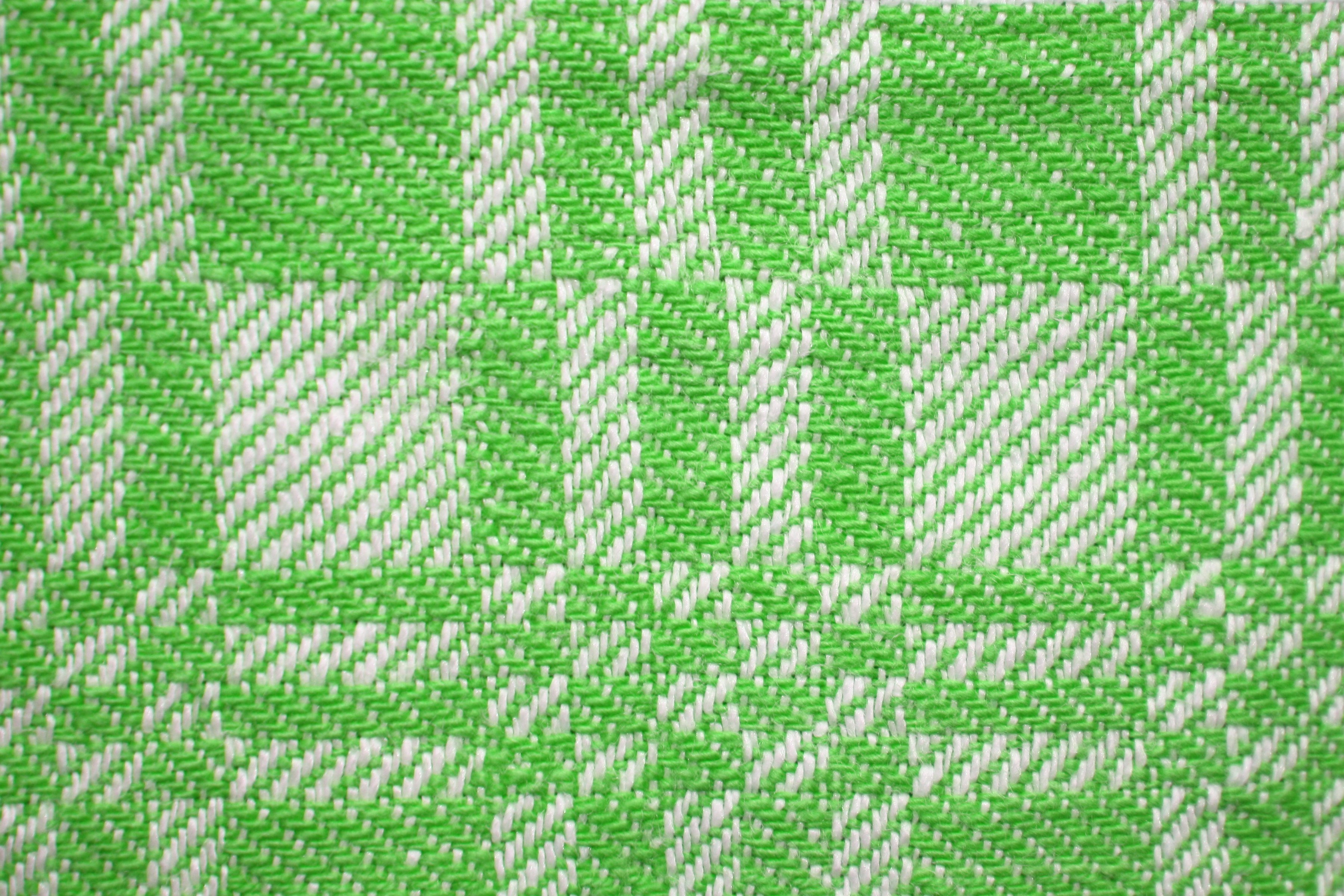 Lime Green And White Woven Fabric Texture With Squares