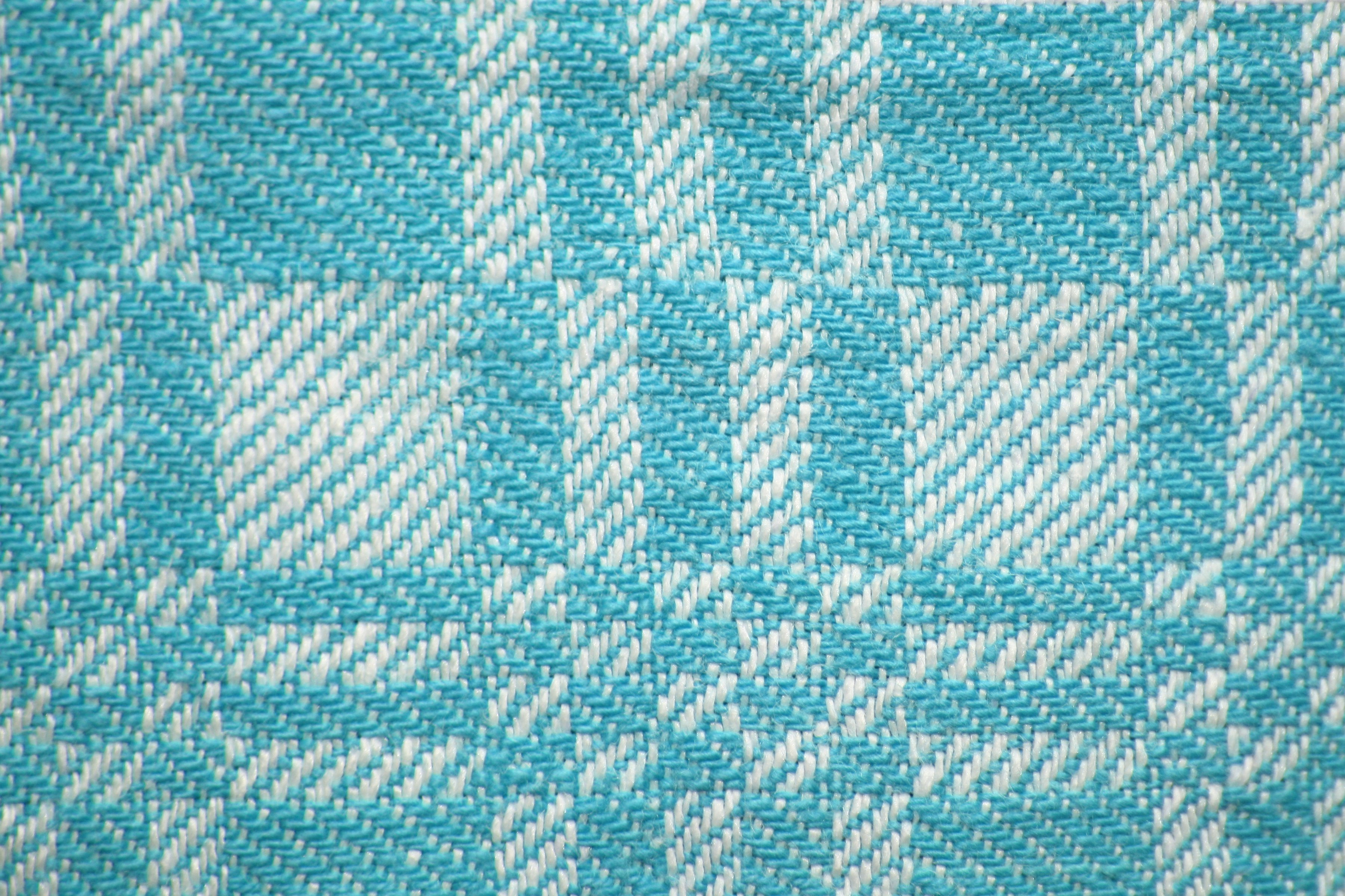 Teal And White Woven Fabric Texture With Squares Pattern