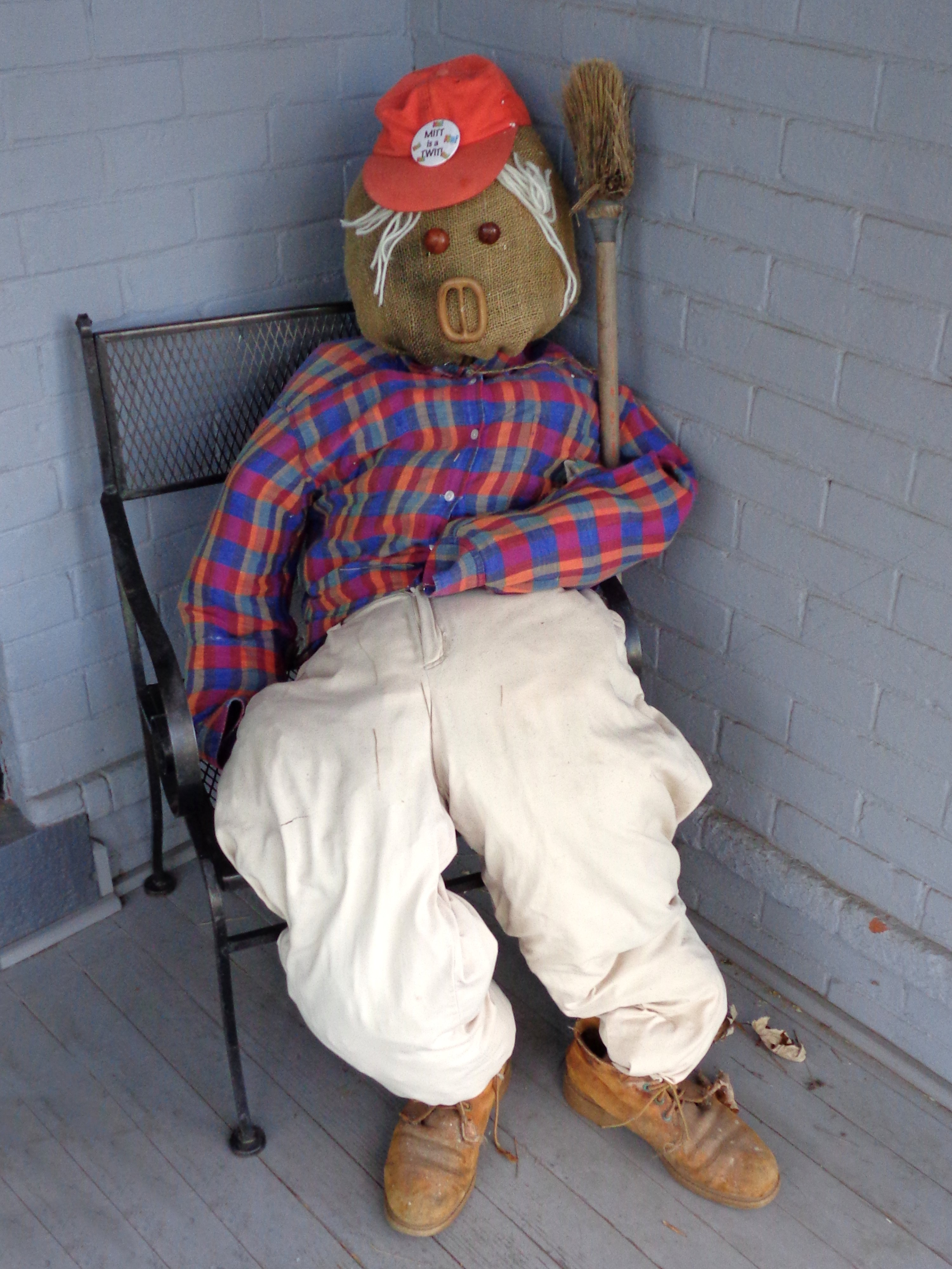 Scarecrow In Lawn Chair Porch Decoration Picture Free