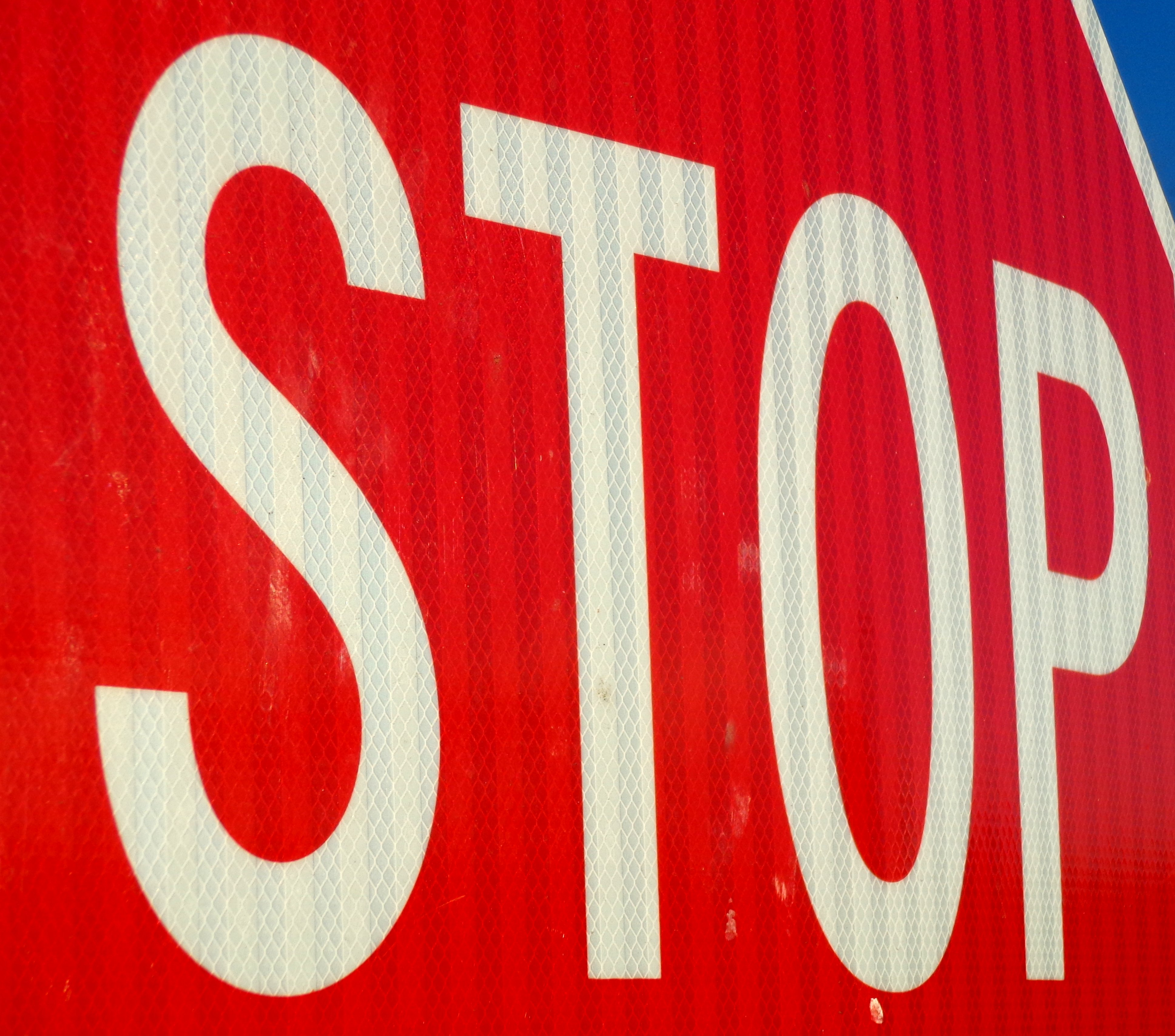 Stop sign high resolution. Close up photo of