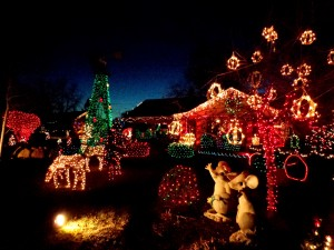 Christmas Lights Yard full of Holiday Decorations - Free High Resolution Photo