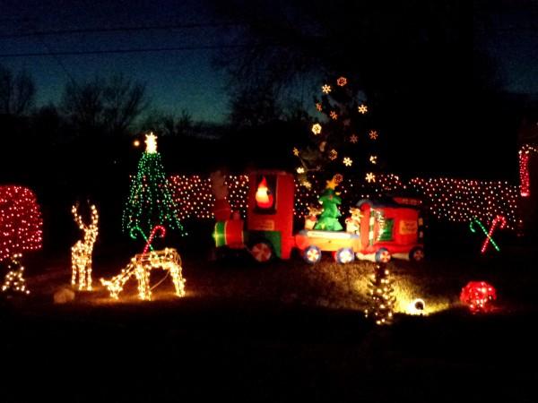 Christmas Train and Holiday Lights - Free High Resolution Photo