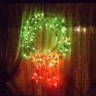 Christmas Wreath Lights in Window - Free High Resolution Photo