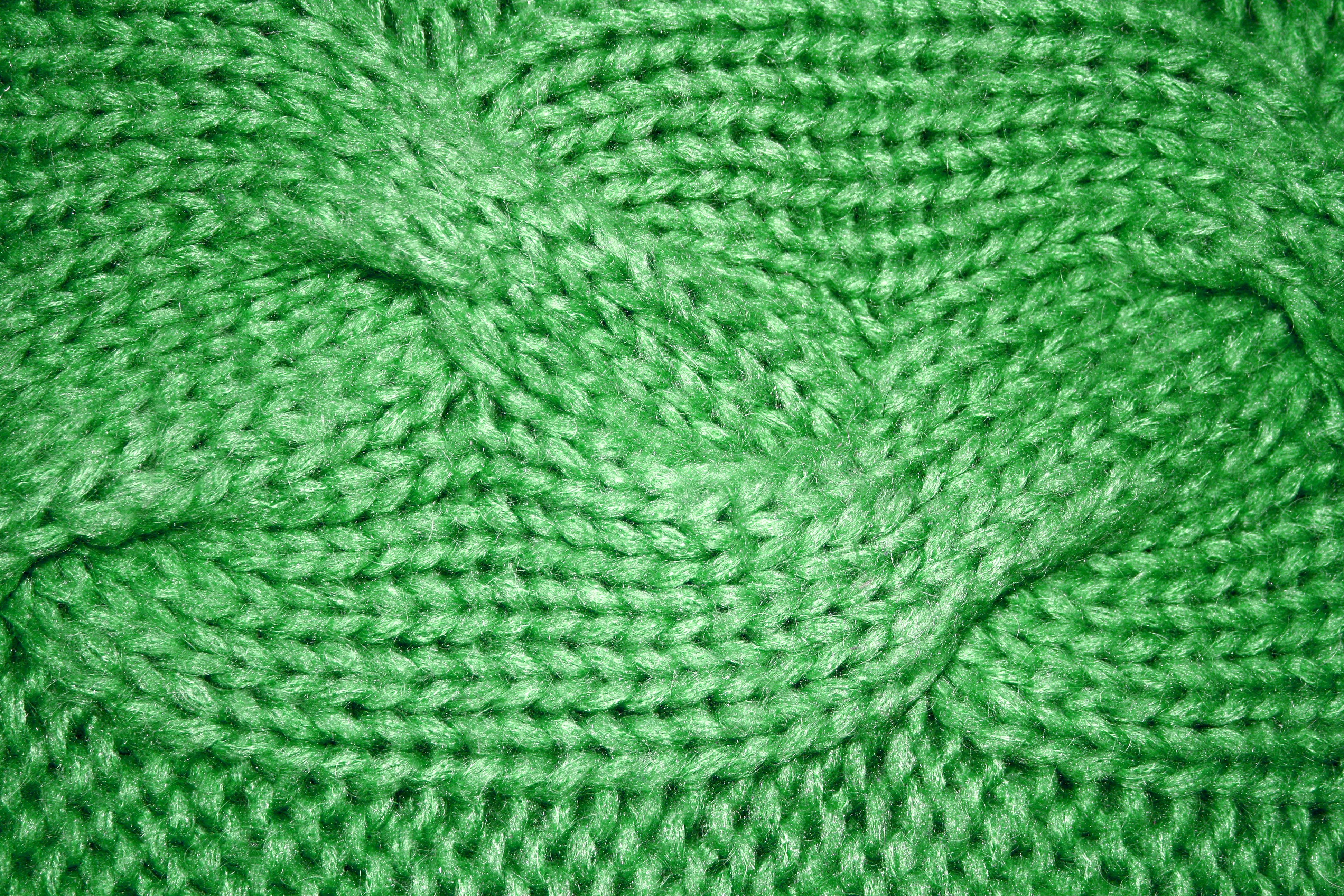 Knitting Images Hd : Green cable knit pattern texture picture free photograph