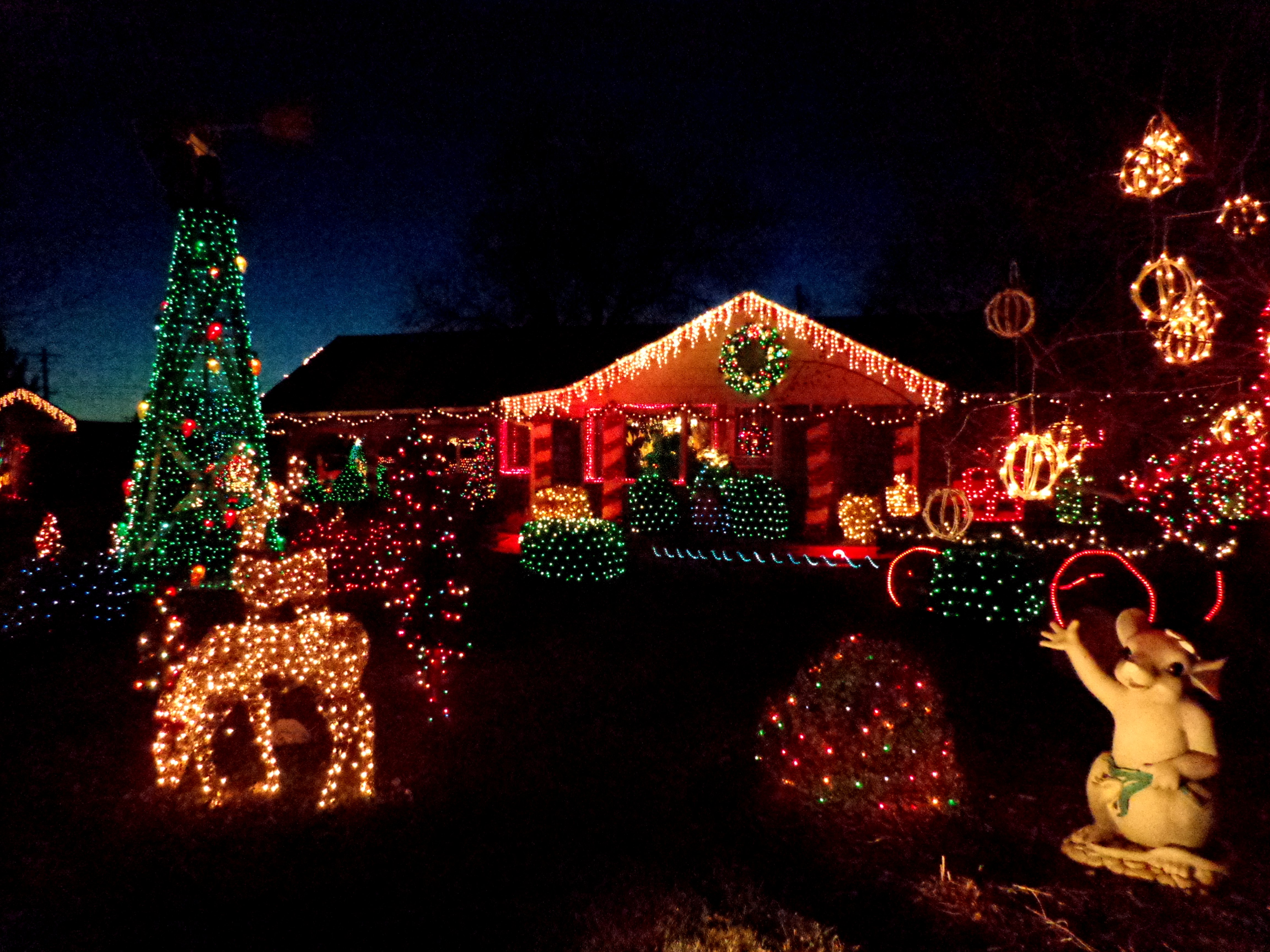 House decorated with christmas lights picture free for Home christmas decorations uk