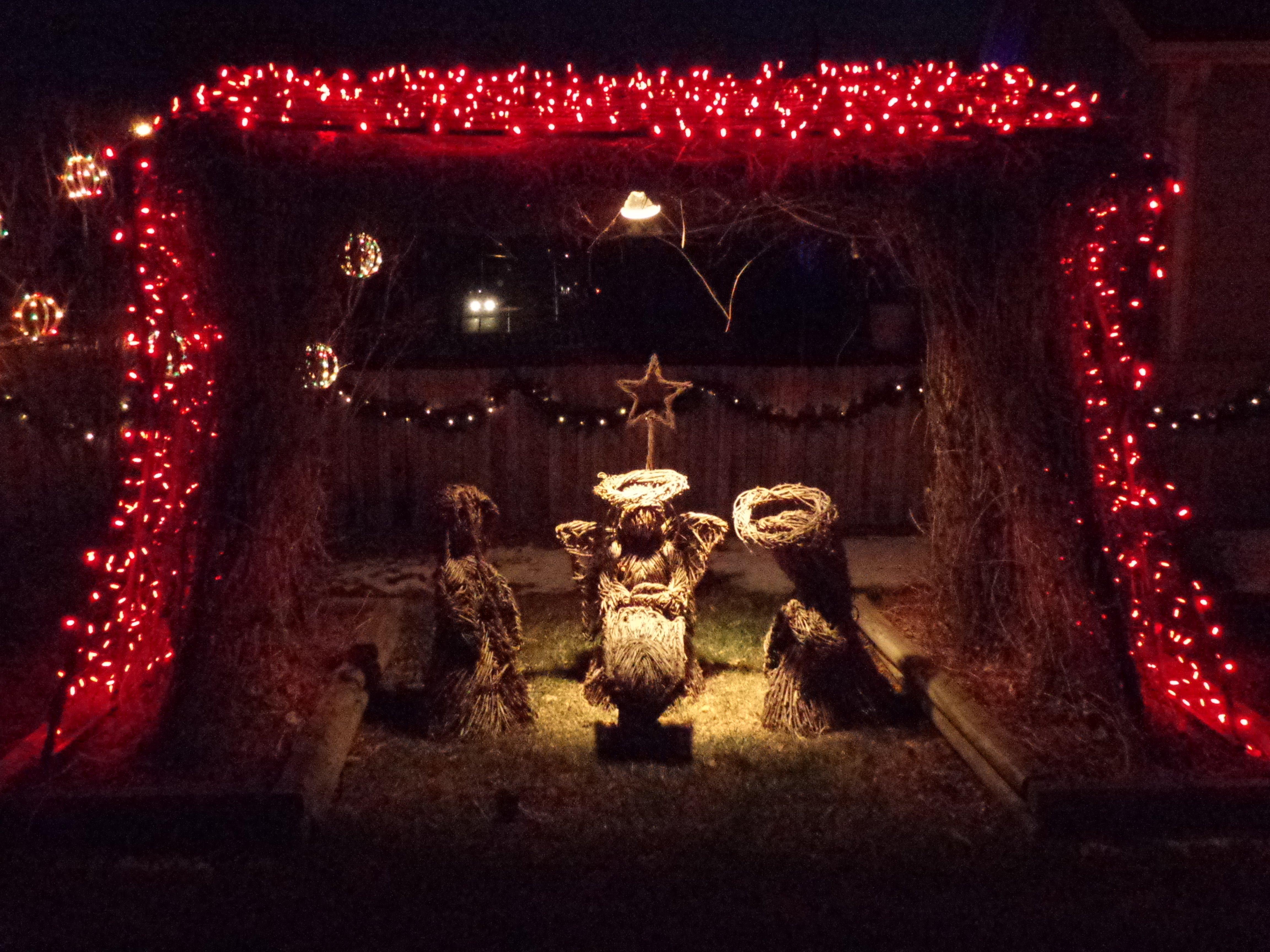 Nativity Scene with Christmas Lights - Free High Resolution Photo ...