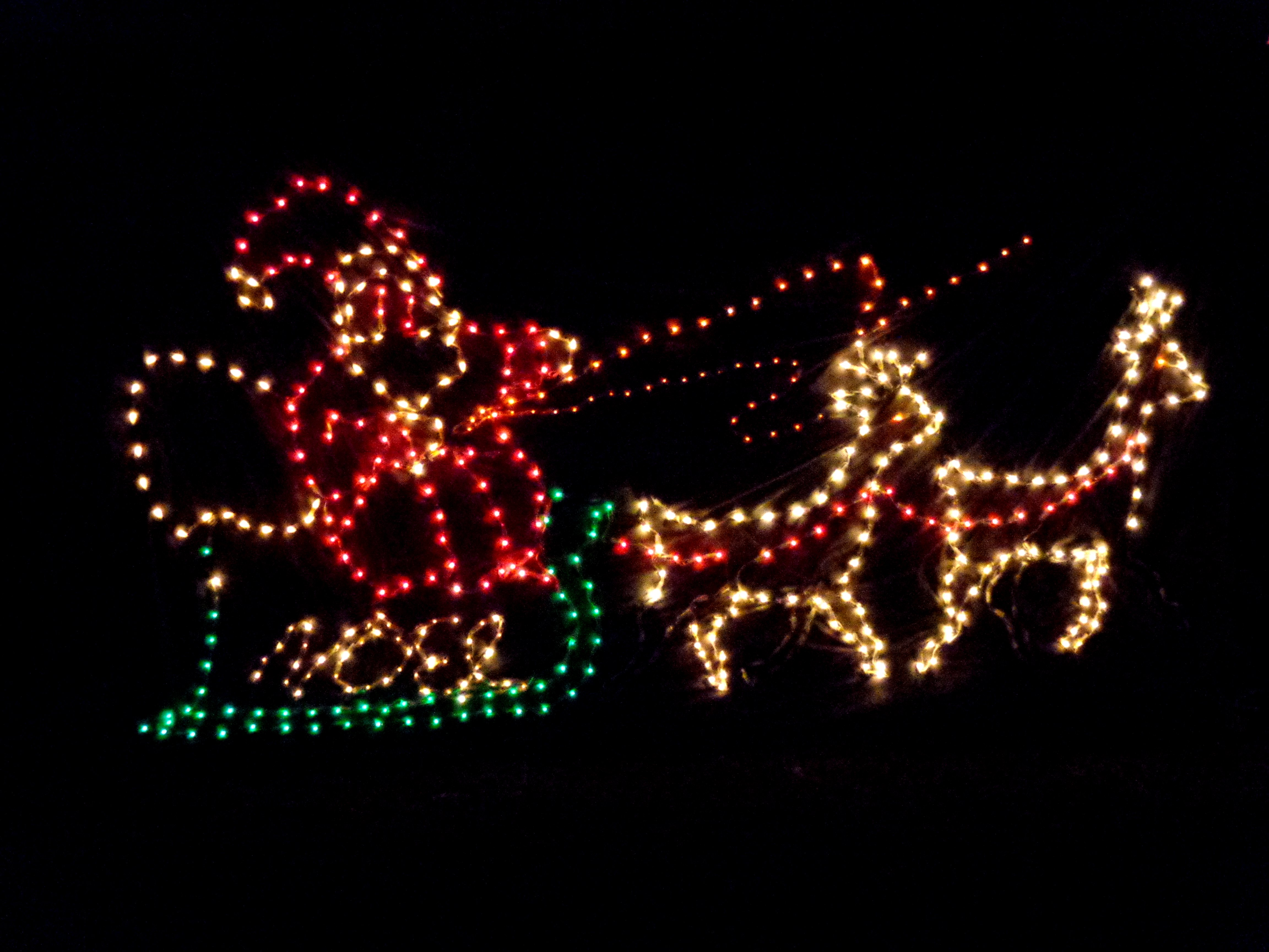 Top santa sleigh lights animated led