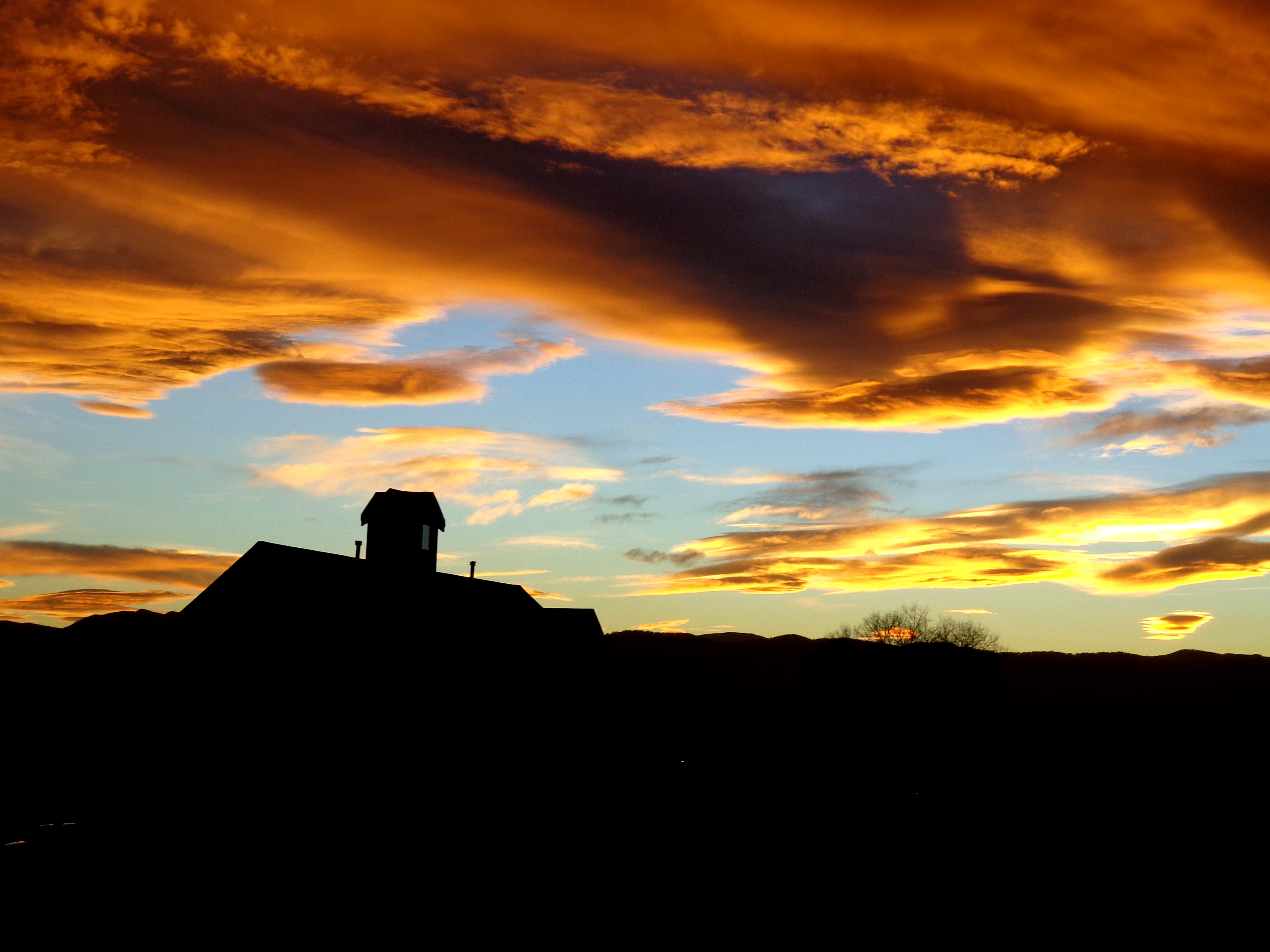 Sunset Over Country School House Picture Free Photograph