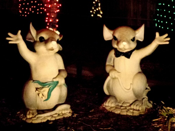 Waving Mice Lawn Ornaments with Holiday Lights - Free High Resolution Photo