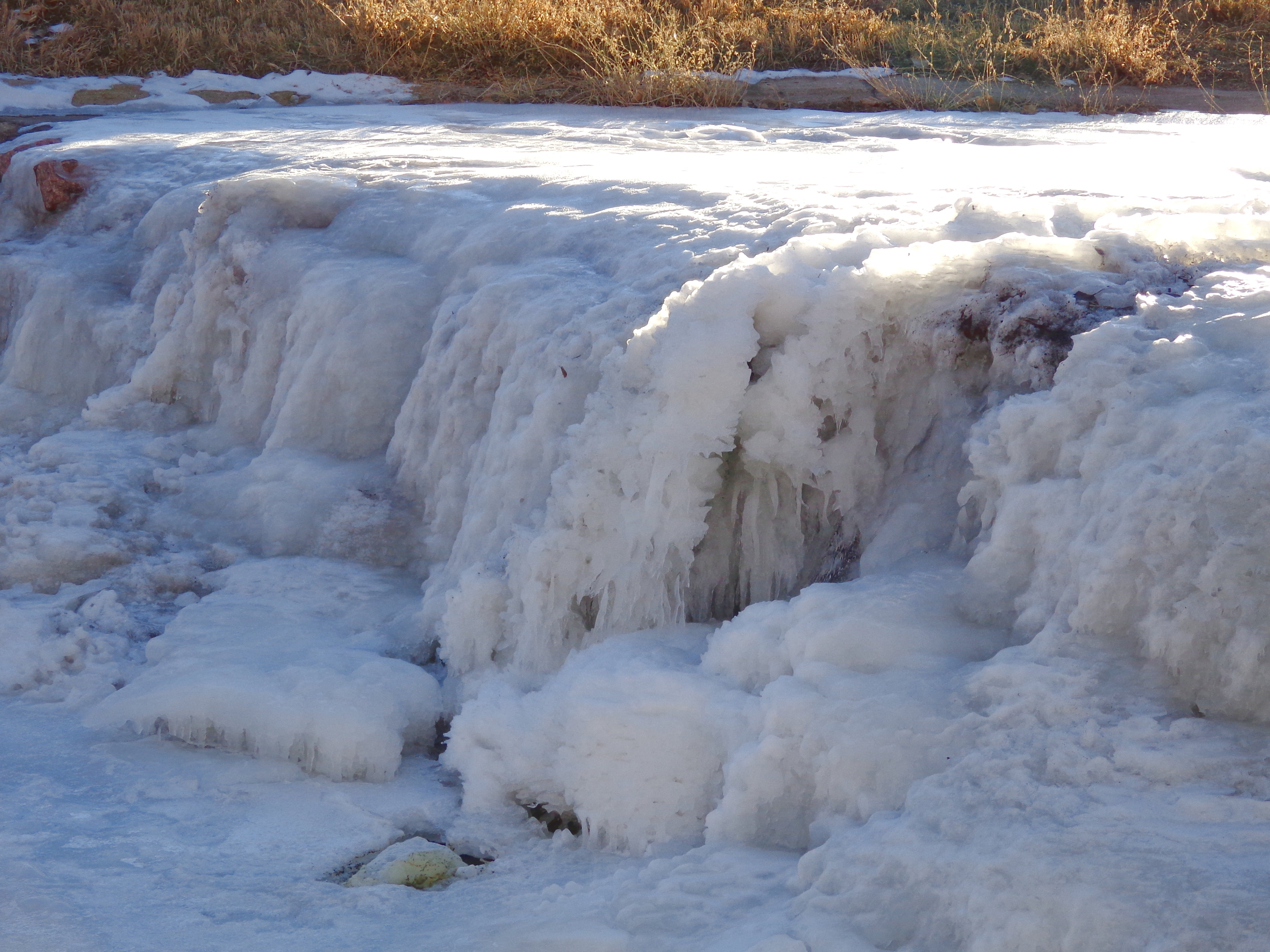 Frozen Waterfall On Winter River Picture Free Photograph