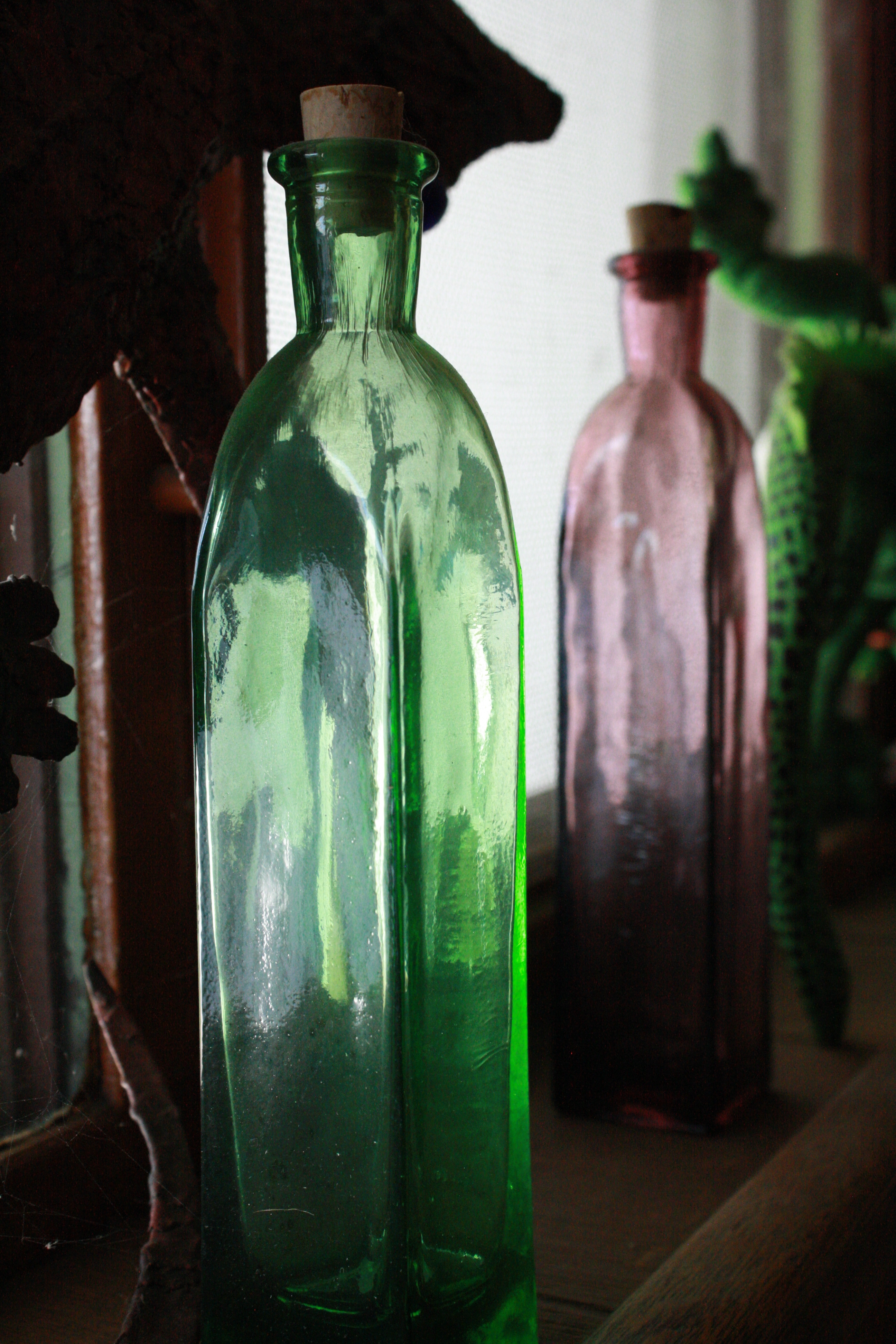 Glass Bottle In Window Sill Picture Free Photograph