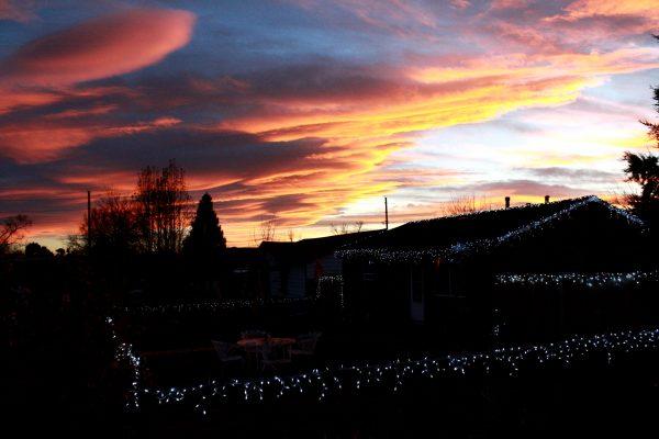 Sunset over Christmas Lights - Free High Resolution Photo