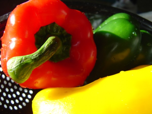 photo of red green and yellow bell peppers