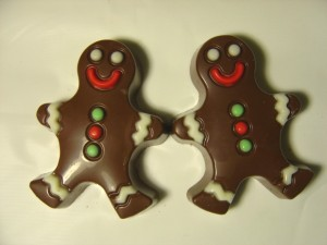 photo of two chocolate candies that look like gingerbread men