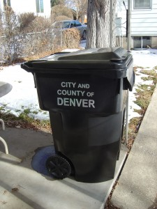 Photo of black city of Denver Municipal Garbage Trash can recepticle