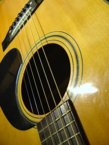 closeup of body of acoustic guitar