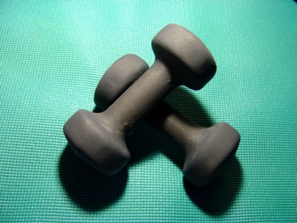 Hand Weights on Workout Mat