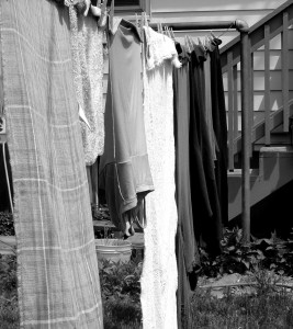 Black and White Photo of Laundry on Clothesline