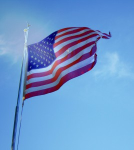 Free photo of an American flag flying in the wind