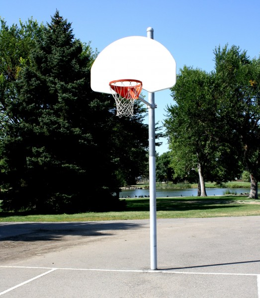 Free photograph of a basketball hoop at a park