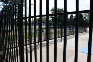 free photo of zig-zaging black iron security fence