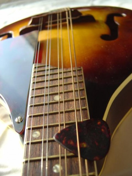 photo of mandolin with fingerboard and pick
