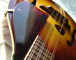 photo of mandolin with pick in strings and pick guard