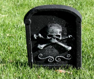 Free photo of a Halloween headstone yard ornament
