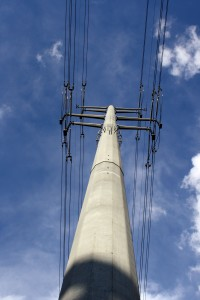 Electric transmission wires and pole - free high resolution photo