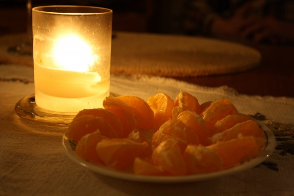 Clementine Sections and Candle - Free High Resolution Photo