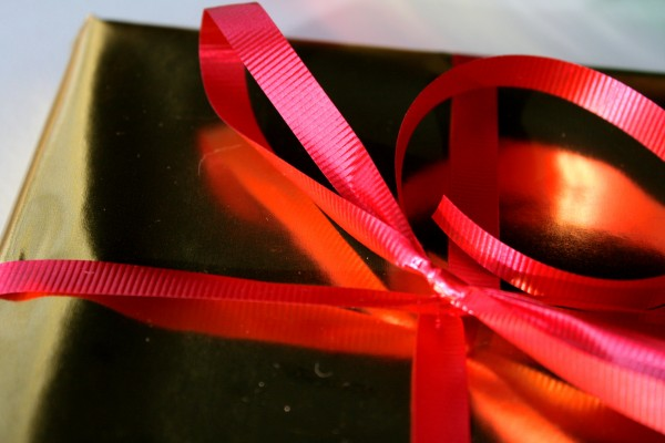 Gold Package with Red Ribbon - Free High Resolution Closeup Photo