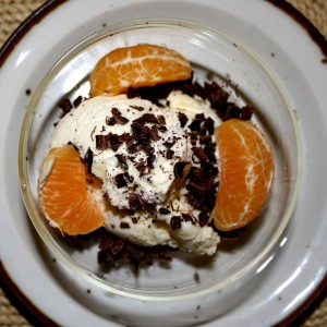 Ice Cream with Chocolate Slivers and Orange Slices - Free High Resolution Photo