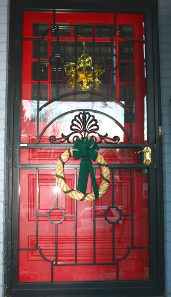 Red Door with Christmas Wreath - Free High Resolution Photo