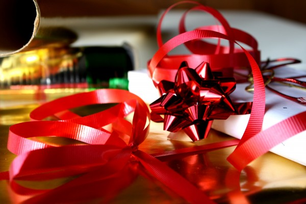 Red Christmas Ribbons with Packages - free high resolution photo