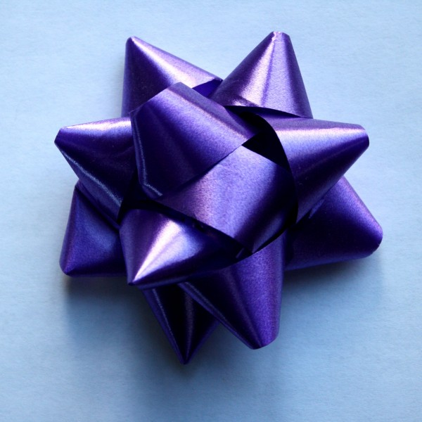 Purple Bow on Blue Paper - Free High Resolution Photo