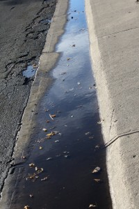 Sidewalk Gutter Full of Water - Free High Resolution Photo