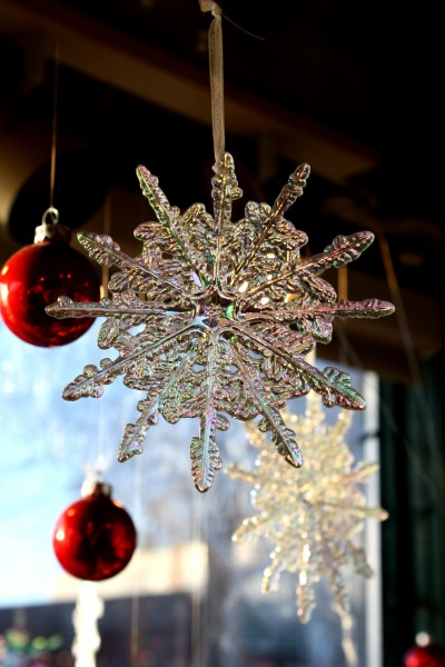 Snowflake and Red Christmas Ball Ornaments - Free High Resolution Photo