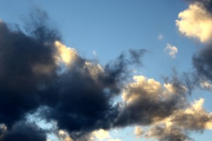 Blue Sky with Golden and Black Clouds - Free High Resolution Photo