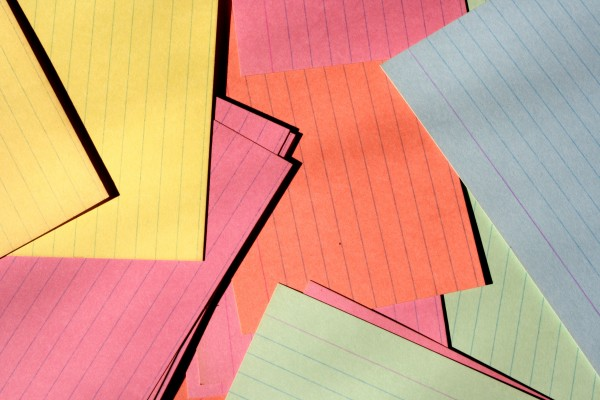 Colorful Index Cards Scattered on Desk - Free High Resolution Photo