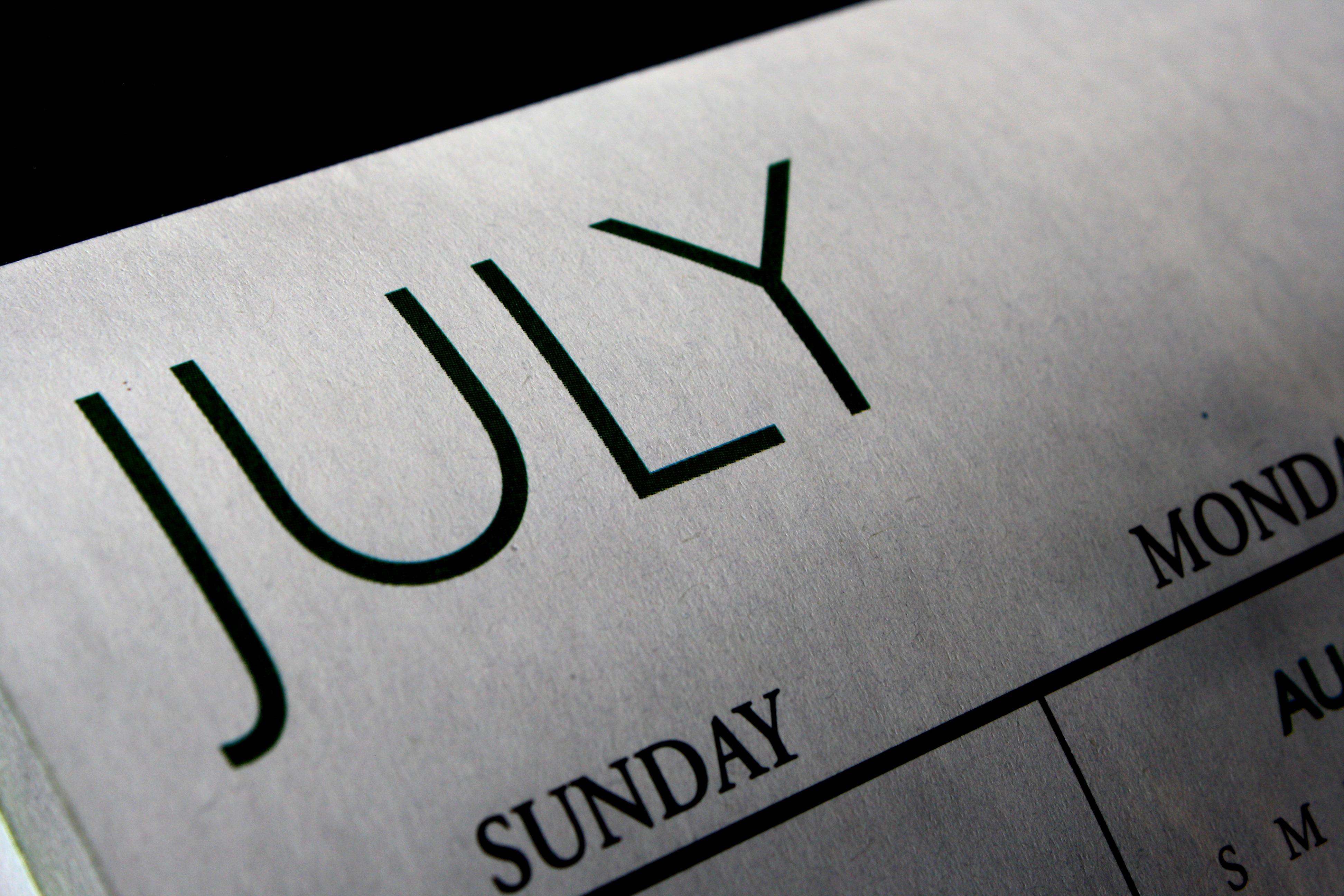 July Calendar Picture | Free Photograph | Photos Public Domain