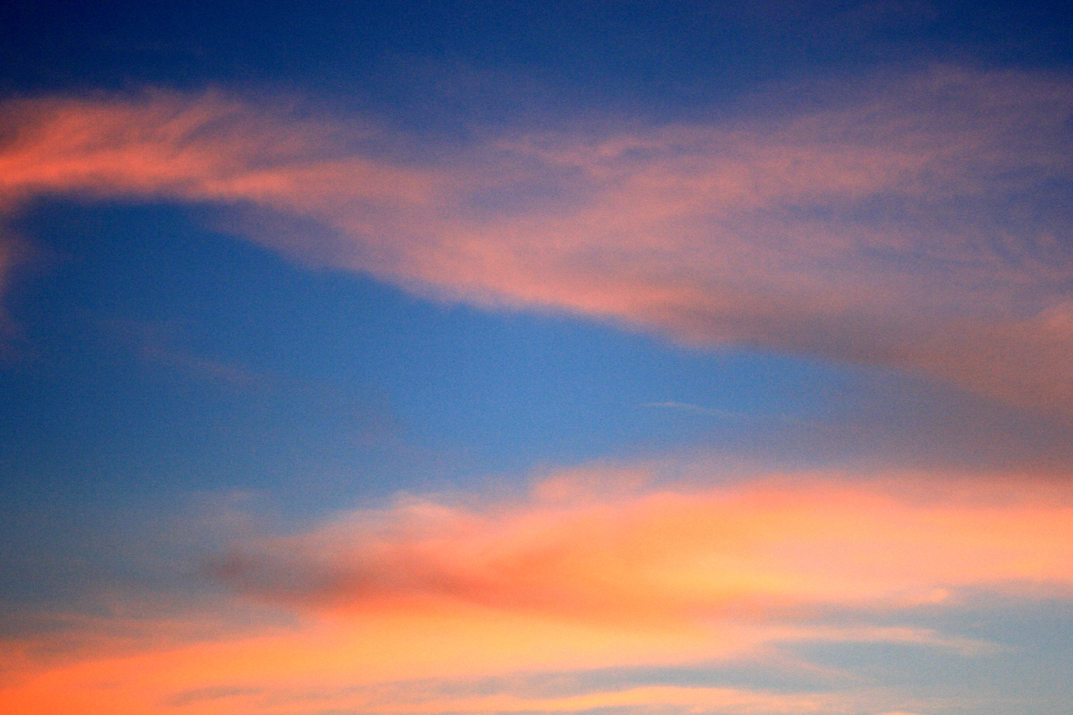 Orange Clouds In Deep Blue Sky Picture Free Photograph Photos